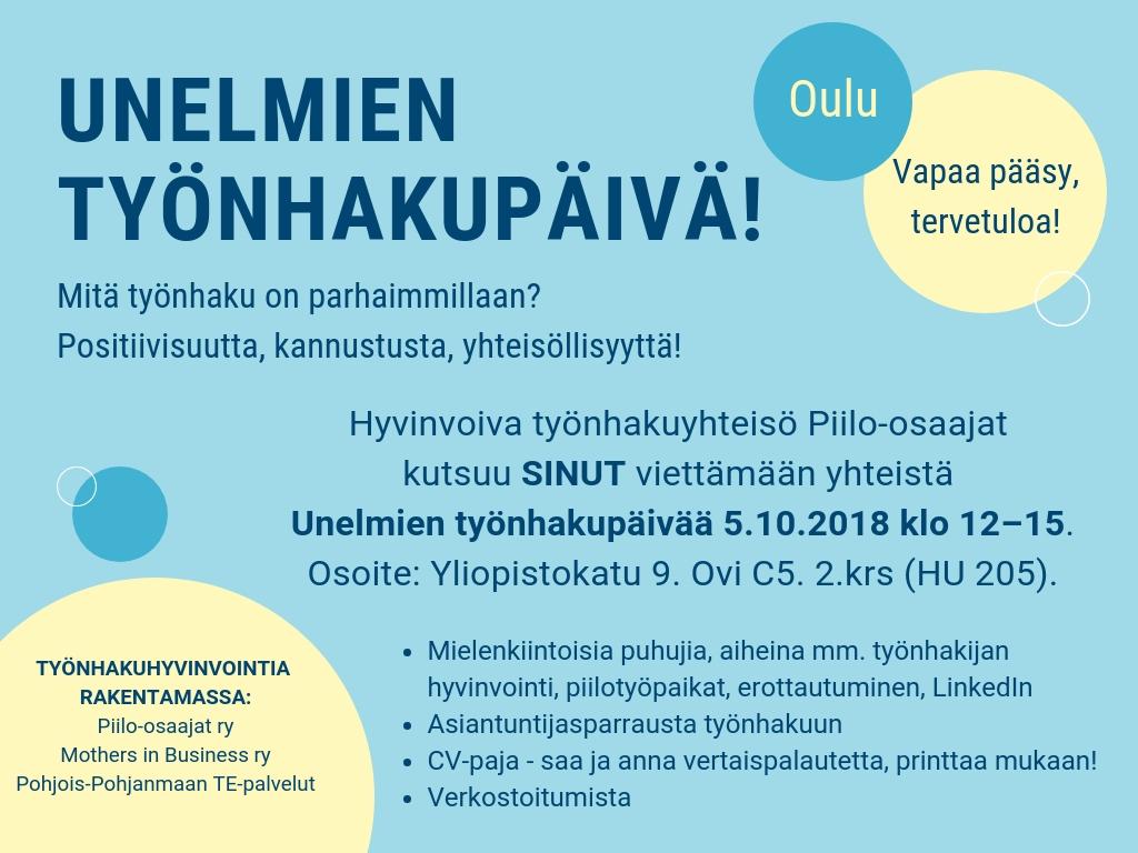 Unelmien työnhakupäivä Oulu_Piilo-osaajat