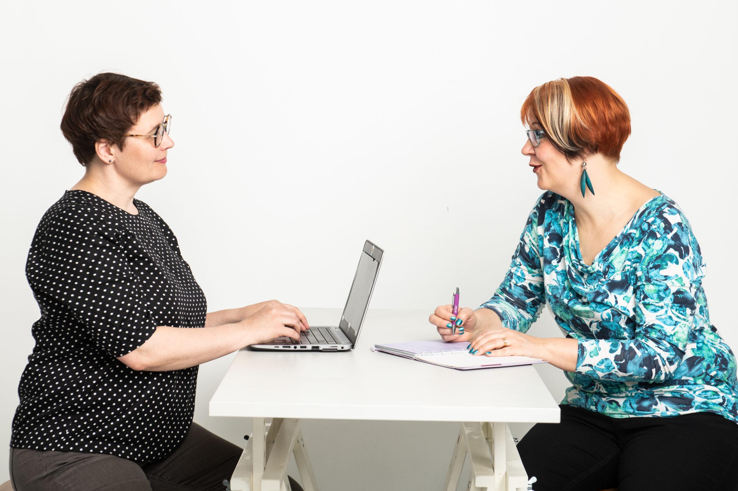 Kaksi henkilöä istuu pöydän vastakkaisilla puolilla ja keskustelee. Toisella on edessään läppäri ja toisella muistikirja.