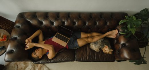 Henkilö makaa sohvalla kännykkä kädessä ja läppäri sylissä. Koira polvitaipeissa.