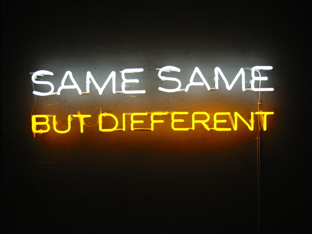 Kuvassa valokirjaimilla teksti: Same same but different.