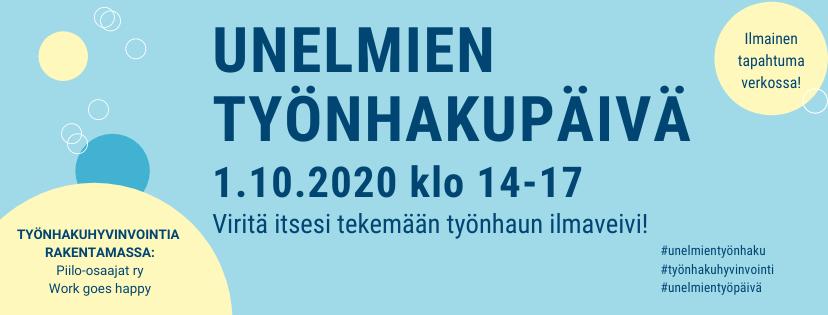 Unelmien työnhakupäivä 1.10.2020 klo 14-17 verkossa.