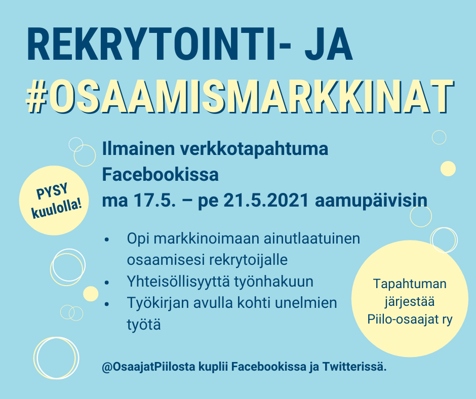 Rekrytointi- ja osaamismarkkinat 17.-21.5.2021